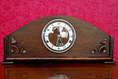 Antique Art Deco British 8-Day Oak Case Mantel Clock with Westminster Chimes