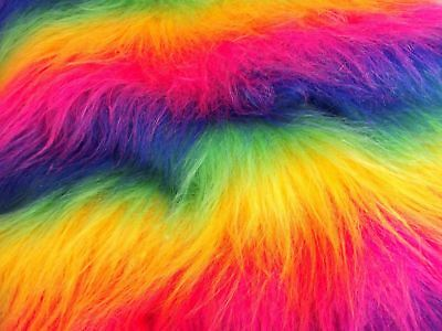 Long Pile Rainbow Faux Fur Fabric LGBT(Q) Gay Pride Craft Material By The Meter