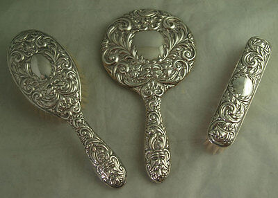 Ornate Vintage Solid Silver 3pc Dressing Table Set - Birm 1957