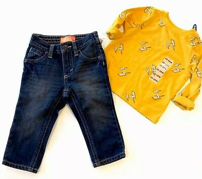 Toddler Boys Size 12-18 MTHS OLD NAVY NWT Long Sleeve Graphic Tee & Skinny Jeans