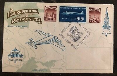 1948 Bucharest Romania First Flight Airmail Cover FFC To Moscow Russia