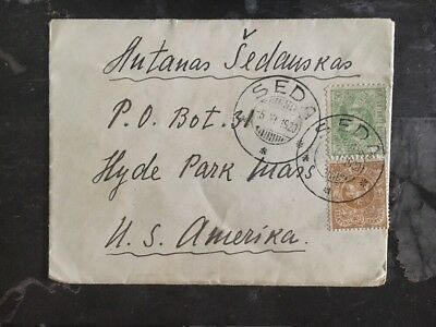 1920 Seda Lithuania cover To Hyde Park Il USA Stamps 53,55