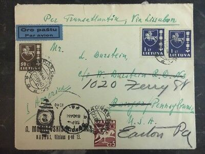 1940 Kaunas Lithuania Airmail cover Redirected To Easton USA