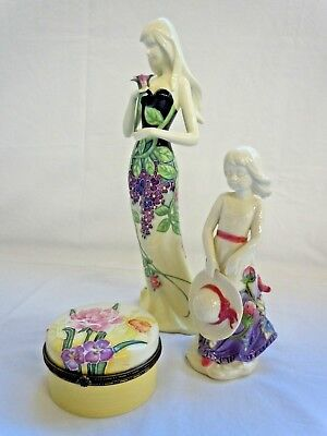 Old Tupton Ware 2 Female Figurines & 1 Trinket Pot Porcelain Hand Painted Floral