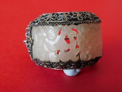 Antique Solid Silver Jade Stone Silver Brooch - Chinese Hallmarks