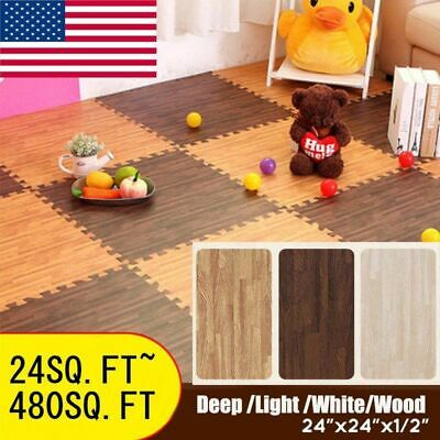 Multi Color Tiles Interlocking Puzzle Floor Mat Foam Kids Baby Safety Exercise