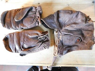 Early Leather Flying Helmet & Early Leather Flying Gloves