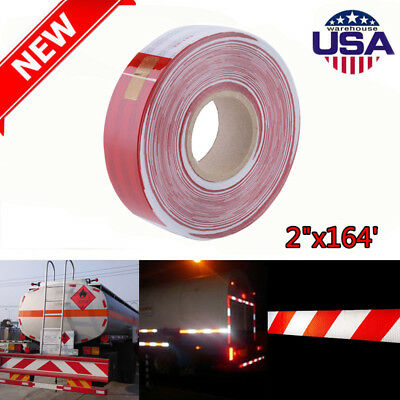 """2""""x164' Red White Approved DOT-C2 Reflective Conspicuity Trailer Tape Safety KJ"""