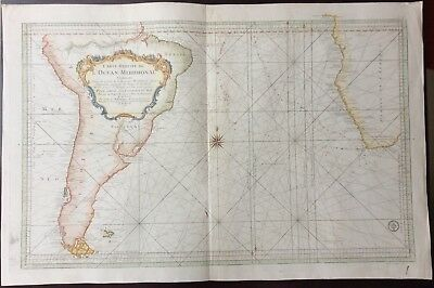 Large scale 1753 map of the Southern Atlantic Ocean by Jacques Nicolas Bellin