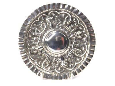 Antique 19th century Eastern silver dish tray embossed foliate scroll