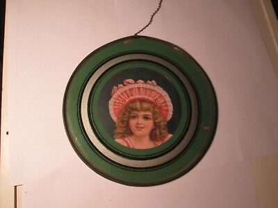 Vintage Victorian Glass Flue cover Young Woman