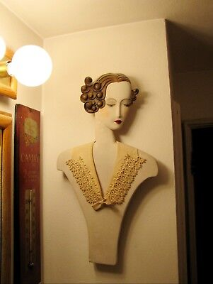 Stunning Vintage 1920's Art Deco Woman Mannequin Wall Advertising Store Display