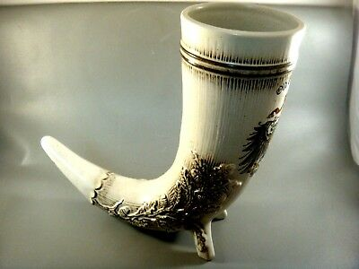 "German beer stein horn shape ""Old Germany"" with German crest Immaculate conditio"