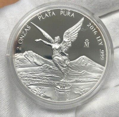 PROOF LIBERTAD - MEXICO - 2016 2 oz Proof Silver Coin in Capsule AUCTION D