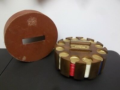 Vintage Poker Chip Set Carousel Caddy & Chips 12 Slot Marble Style Chips Bjoro