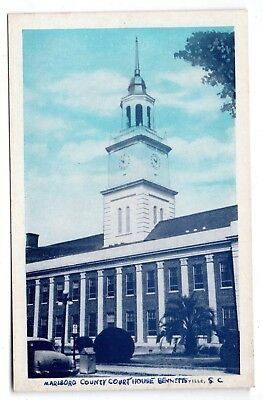 "BENNETTSVILLE SOUTH CAROLINA 1930's ""MARLBORO COUNTY COURT HOUSE""--BLUE-SKY VIEW"