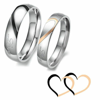 Fashion Love Couple Stainless Heart Ring Forever Promise Band Engagement Wedding