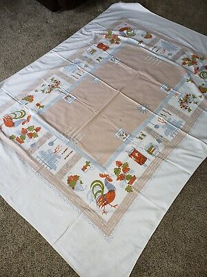 Vtg 54X73 MCM 1950s Shabby Farmhouse Kitchen Tablecloth Rooster Fireplace cutter