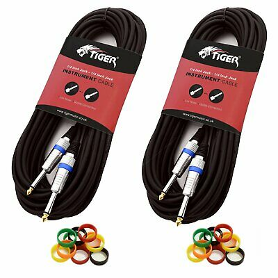 Tiger 3m (10ft) 6.3mm Jack to Jack Guitar Cable – Pack of 2
