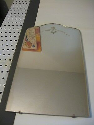 Vintage 20 1/2`` x 12`` wall mirror etched floral/leaves details