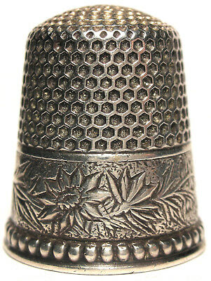 Ketcham & McDougall (KMD) Sterling Damask Flowered Thimble - Size 11    c.1890s