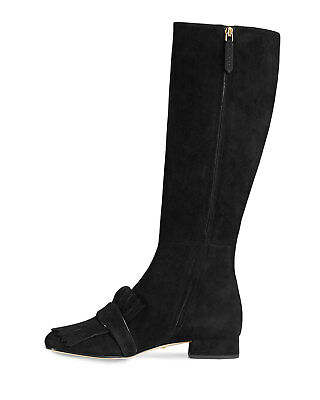 New Authentic Gucci Marmont Fringe Tall Suede Boots Women Black US 37.5  7.5 27b005b4efac8