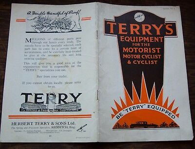 vintage equipment booklet Terry's for motorcycle car and bicycle 1930s Terry 30s