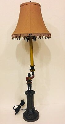 "Cast Metal Monkey Bellhop Butler w/ Banana Tray 36"" Table Lamp Oriental Accent"
