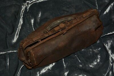 Small Antique leather Gladstone / doctors bag, props, decoration, v dilapidated