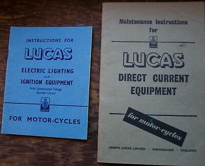 x2  vintage 1950s Joseph Lucas booklets - electric lighting & ignition equipment