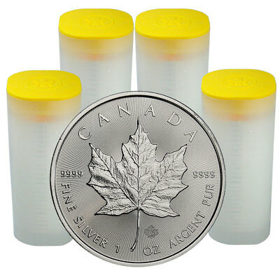 4 Rolls of 25 100 Coins 2019 Canada 1 oz Silver Maple Leaf $5 GEM BU SKU55539