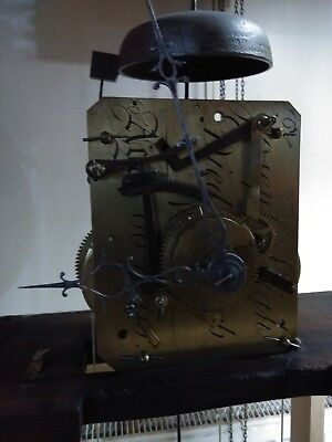 Antique longcase grandfather clock movement pendulum weights bell and hands