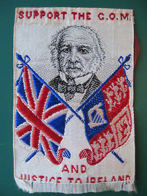 RARE Stevengraph style silk bookmark W E GLADSTONE  JUSTICE TO IRELAND book mark