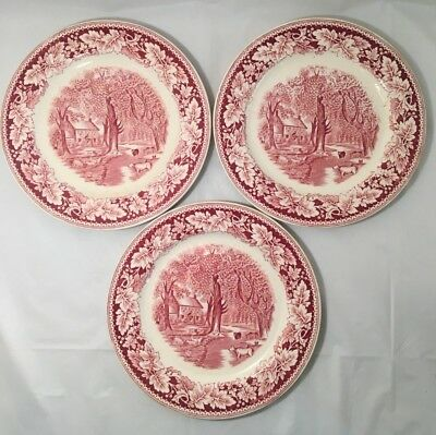 """Homer Laughlin Currier & Ives 10"""" Plate Home Sweet Home Set of 3 Made in USA"""