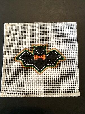 """Handpainted Needlepoint Canvas - Collection of Designs """"Bat Gingerbread Cookie"""""""
