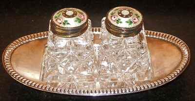Norway 925 Sterling & Enamel Salt & Pepper Shakers with Tray