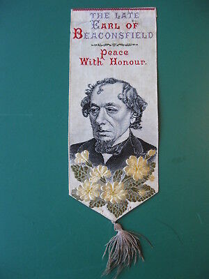 Stevengraph silk BOOKMARK THE LATE EARL OF BEACONSFIELD book mark Thomas Stevens