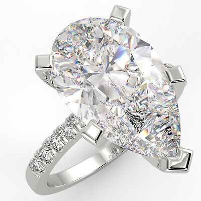 3.04 Ct Pear Cut VS1/E Solitaire Pave Diamond Engagement Ring 14K White Gold