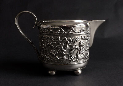 Lovely Vintage Silver Plated Embossed Cream Jug With Cherubs
