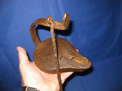 18th Century Antique Large Wrought Iron Betty Oil Lamp