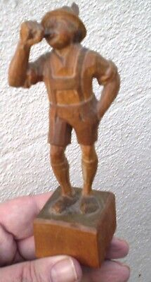 Small Vintage Carved Wooden Black Forest Sculpture Of A Boy Blowing A Horn