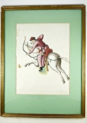 Detailed Antique Chinese Horse Archer Pith Rice Paper Watercolour Painting c19th