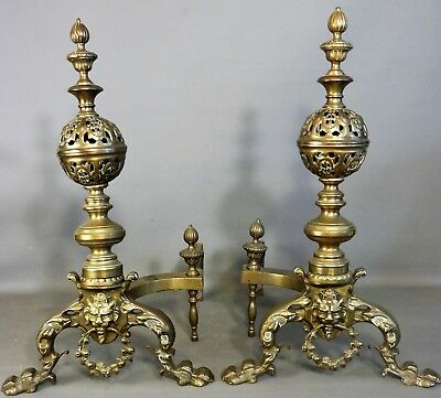 (2) Antique 19thC VICTORIAN Era BRASS Figural LION BUST Old FIREPLACE ANDIRONS