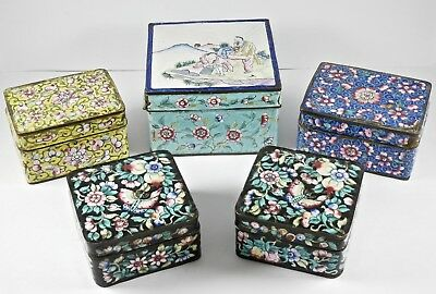 Collection Antique Vintage Chinese Canton Enamel Boxes
