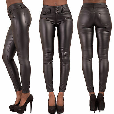 Ladies Black Leather Look Jeans Womens Skinny Stretch Biker Trousers Size 6-14