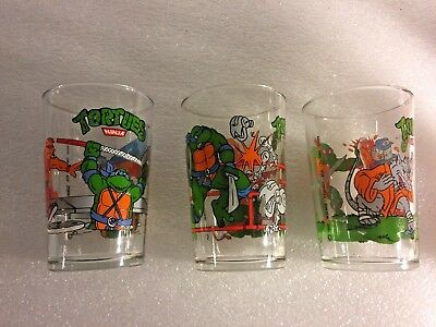 Lot De 3 Verres Tortues Ninja 1990 Mirage Studio Usa P 1989 Idh