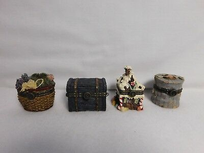 Boyds Bears & Friends ~ Group Lot Of 4 ~ Uncle Bean's Treasure Boxes