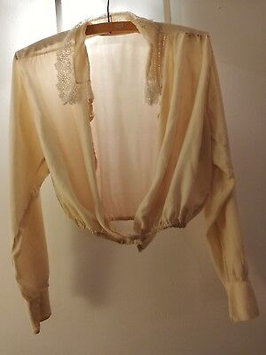 Antique Edwardian handmade cream silk blouse lace collar & embroidered detail.
