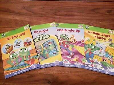 Lot of 4 Leap Frog Tag Reader Books ~ Phonics Vowels, consonants & short vowels