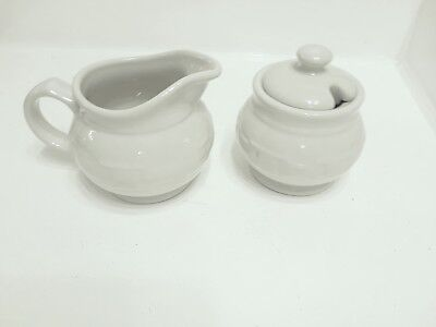 Longaberger Pottery Woven Traditions Ivory Sugar And Creamer